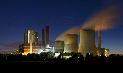 Brown Coal Power Station At Night Panorama