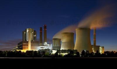 Brown Coal Power Station At Night Panorama