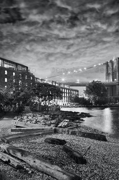 Under the Brooklyn Bridge, New York.