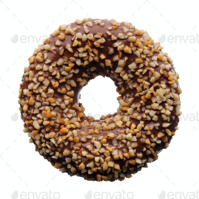 Chocolate and crushed nuts donut
