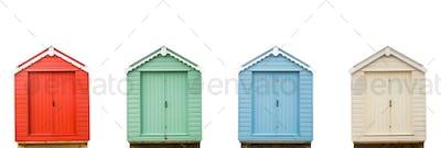 Four Vintage Beach Huts