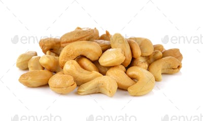 Cashews in the scoop on white background