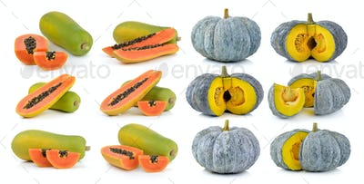Green pumpkin and papaya isolated on the white background