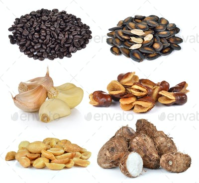 coffee beans, watermelon seed, garlic , peanut, Taro, Broad bean