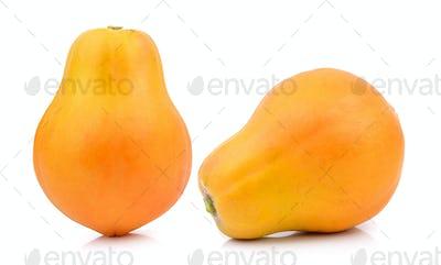 ripe papaya on white background