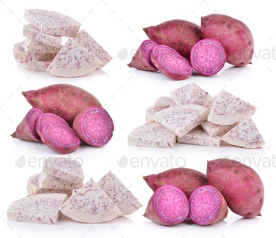 sweet potato and slice taro root on white background
