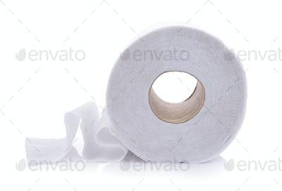 toilet paper on white background