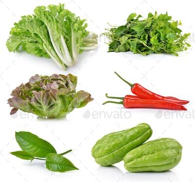 green tea leaf, Chayote, Green Oak, Red chili pepper, Bitter gou