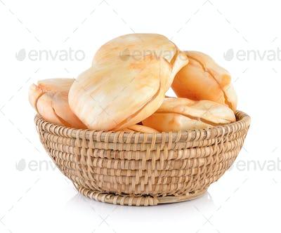 Asian Palmyra palm, Toddy palm, Sugar palm in basket on white ba