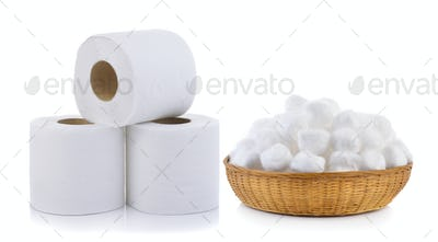 toilet paper and cotton in the basket on white background