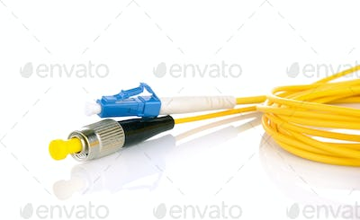Fiber optic cables isolated on white background