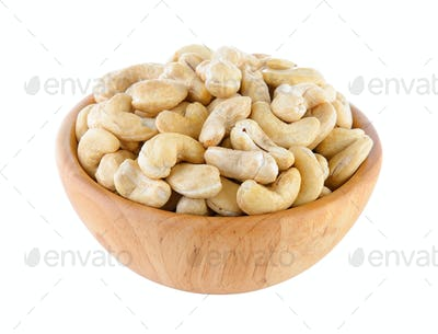 cashew nut in wood bowl on white background