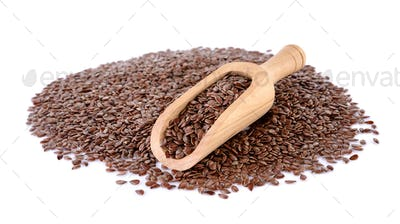 Flax seeds heap in wood scoop isolated on white background
