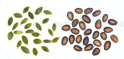 watermelon and pumpkin seeds and isolated on white background