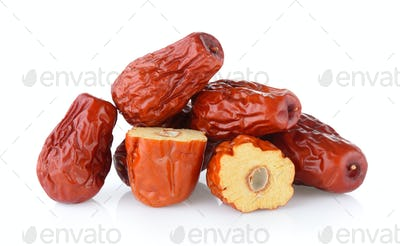 Dried red date or Chinese jujube on white background