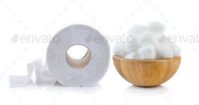 toilet paper and cotton in the wood bowl on white background