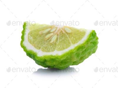 Bergamot slice isolated white background