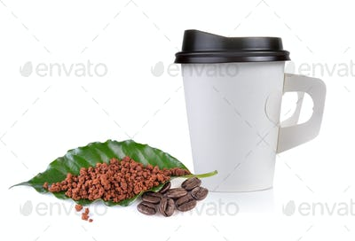 instant coffee leaves and pepper cup on white background