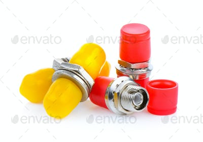 fiber optic connectors, ST, SC and FC isolated on white backgrou
