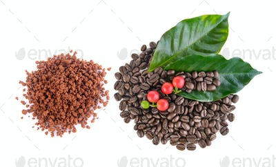 coffee grains and instant coffee on white background