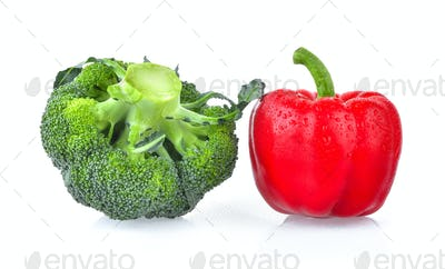 red pepper and fresh broccoli isolated on white background