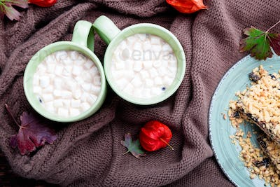 Two cup of coffee or hot chocolate with marshmallow