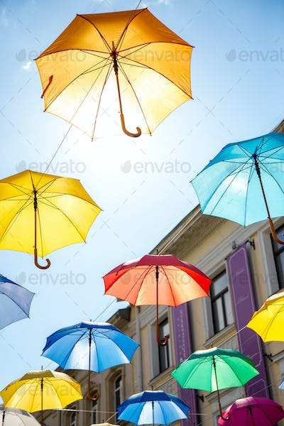 Colorful umbrellas background.