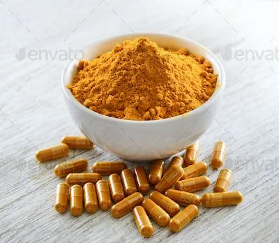 Turmeric powder and turmeric capsules