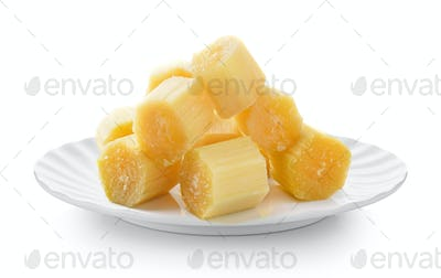 sugarcane in white plate on white background