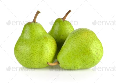 green pears isolated on white background