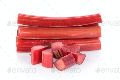 Rhubarb stalks on a white background