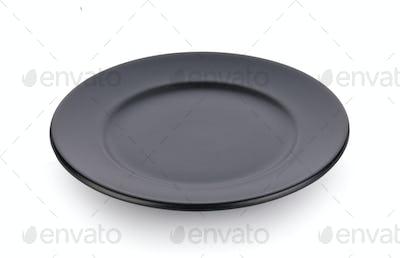 black plate on white background