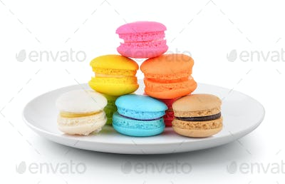 macaroons in a plate isolated on a white background