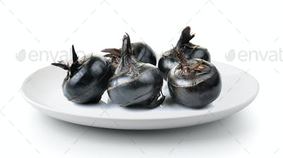 Waterchestnuts  plate isolated on a white background
