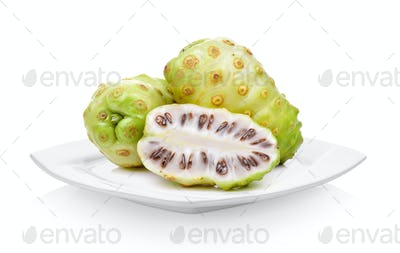 Exotic Fruit, Noni fruits in white plate on white background