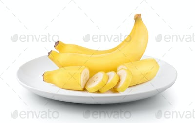 bananas in a plate isolated on a white background