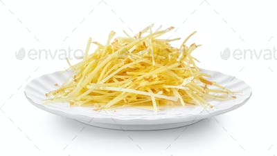 slice ginger in white plate on white background