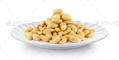cashew nut in plate on white background