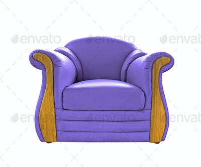 old Purple leather sofa isolated on white