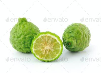 Kaffir lime on white background
