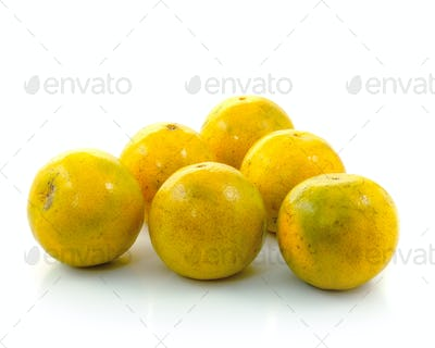 Orange fruit slice isolated on white background.