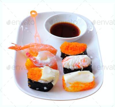 sushi on white background