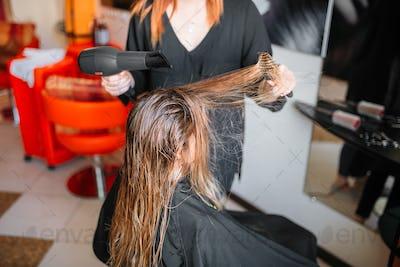 Hairdresser drying hair, female hairdressing