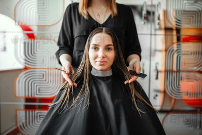 Woman in hairdressing salon, female stylist