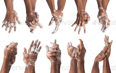 Set of black man washing hands isolated on white background