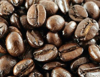 Macro coffee beans.