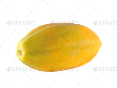 Ripe papaya on white background.