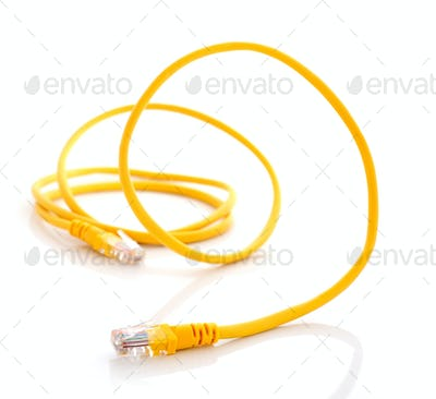 computer ethernet cable isolated on white background