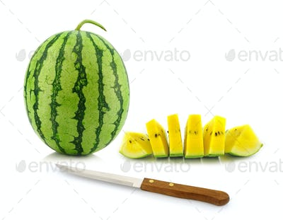 Yellow Watermelon & knife isolated on white background