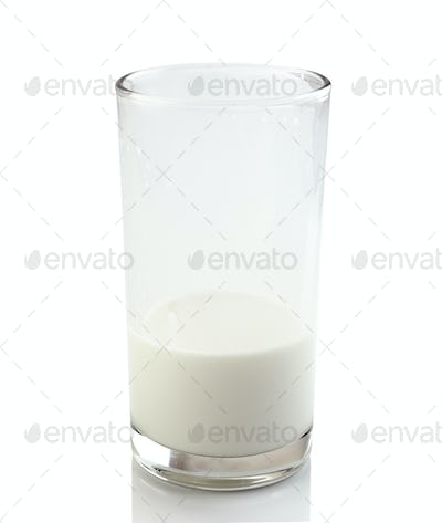 Half a glass of fresh milk isolated on a white background